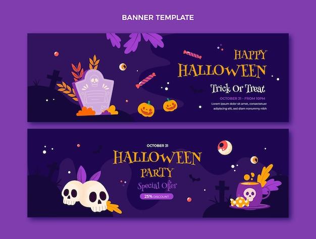 Handgezeichnete flache horizontale halloween-banner-set