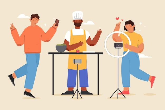 Handgezeichnete flache illustration von bloggern