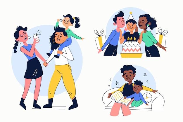 Handgezeichnete flache illustration von familienszenen