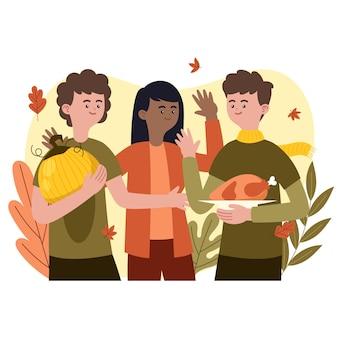 Handgezeichnete flache illustration von menschen, die thanksgiving feiern