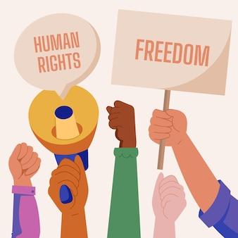 Handgezeichnete flache illustration zum internationalen tag der menschenrechte mit plakaten und megaphon