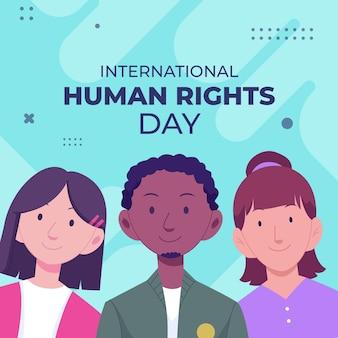 Handgezeichnete flache illustration zum internationalen tag der menschenrechte