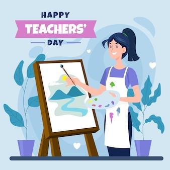 Handgezeichnete flache illustration zum tag des lehrers