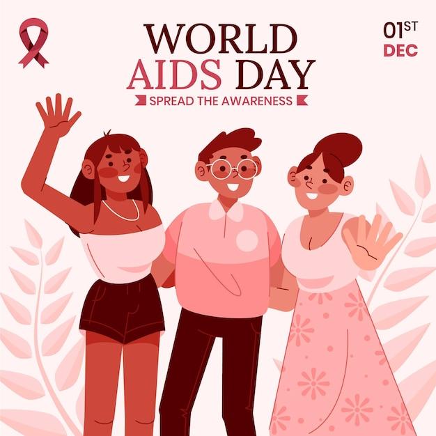 Handgezeichnete flache illustration zum welt-aids-tag