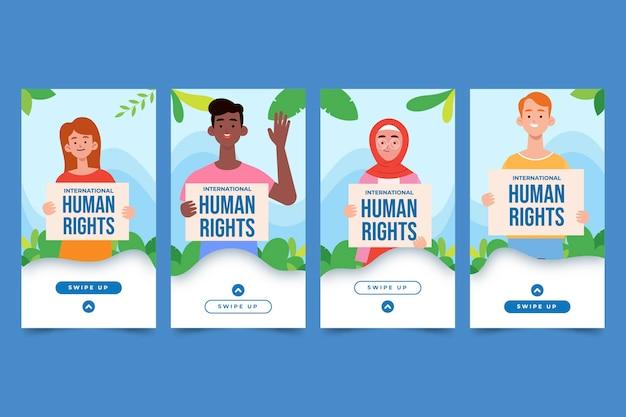 Handgezeichnete flache instagram-geschichtensammlung zum internationalen tag der menschenrechte