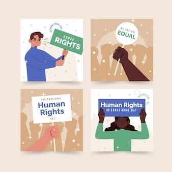 Handgezeichnete flache instagram-posts-sammlung zum internationalen tag der menschenrechte