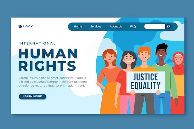Handgezeichnete flache landingpage-vorlage für den internationalen tag der menschenrechte