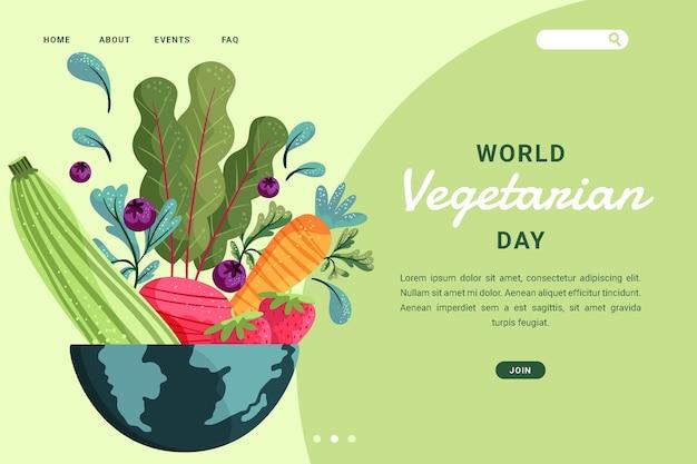 Handgezeichnete flache landingpage-vorlage für den vegetarischen tag der welt