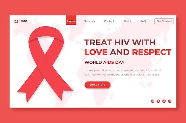 Handgezeichnete flache landingpage-vorlage für den welt-aids-tag