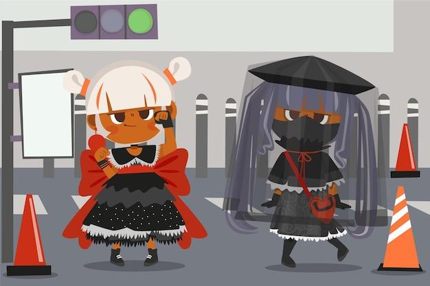 Handgezeichnete flache lolita-stil mädchen