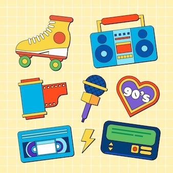 Handgezeichnete flache nostalgische 90er-elemente-kollektion