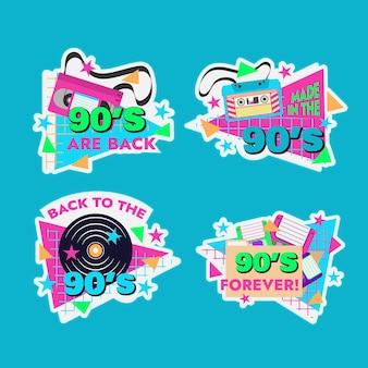 Handgezeichnete flache nostalgische 90er jahre abzeichen