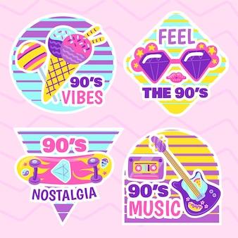 Handgezeichnete flache nostalgische 90er jahre abzeichensammlung