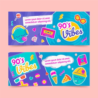 Handgezeichnete flache nostalgische 90er jahre horizontale banner-set