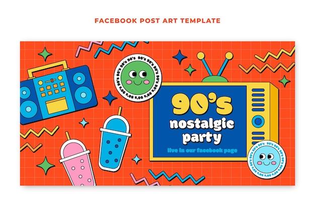 Handgezeichnete flache nostalgische 90er jahre social-media-beitragsvorlage