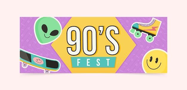 Handgezeichnete flache nostalgische 90er jahre social-media-cover-vorlage
