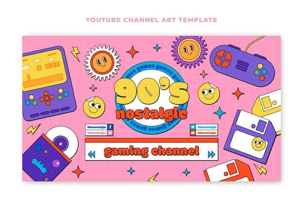 Handgezeichnete flache nostalgische 90er jahre youtube-kanalkunst