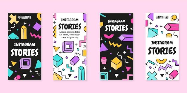 Handgezeichnete flache nostalgische instagram-geschichten aus den 90er jahren