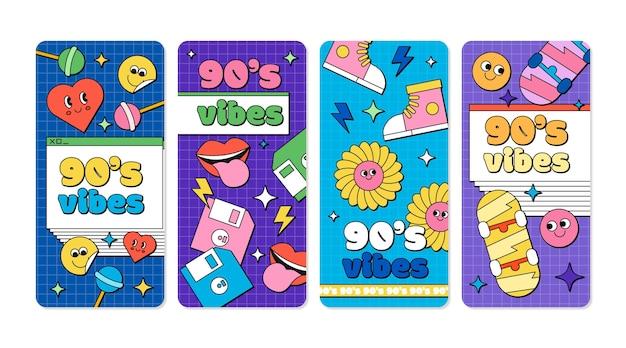 Handgezeichnete flache nostalgische instagram-geschichten der 90er jahre