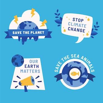 Handgezeichnete flache sammlung von abzeichen für den klimawandel