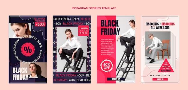 Handgezeichnete flache schwarze freitag instagram geschichtensammlung