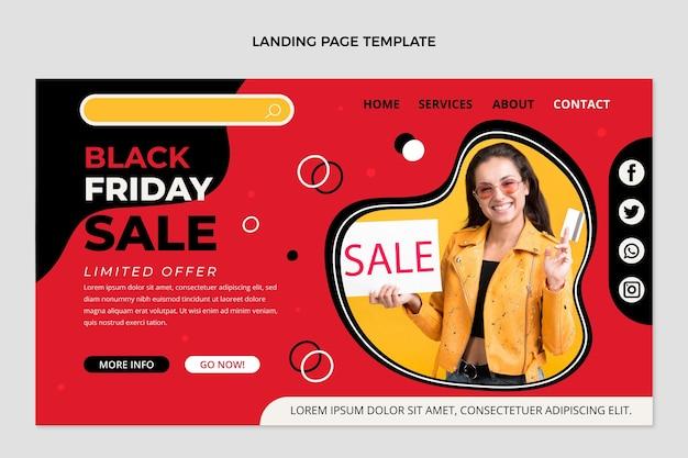 Handgezeichnete flache schwarze freitag-landing-page-vorlage