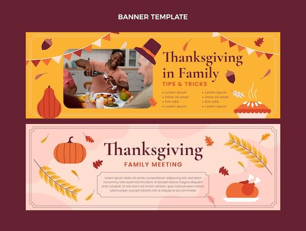 Handgezeichnete flache thanksgiving-horizontale banner-set