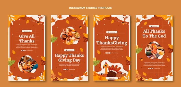 Handgezeichnete flache thanksgiving-instagram-geschichten-sammlung