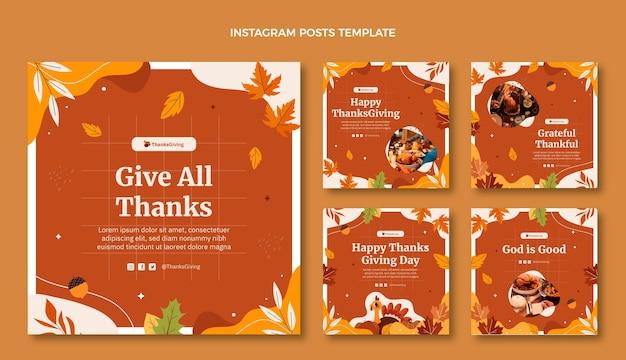 Handgezeichnete flache thanksgiving-instagram-posts-sammlung