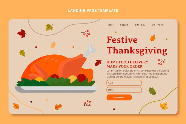 Handgezeichnete flache thanksgiving-landing-page-vorlage