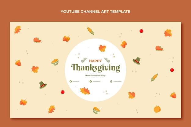 Handgezeichnete flache thanksgiving-youtube-kanalkunst