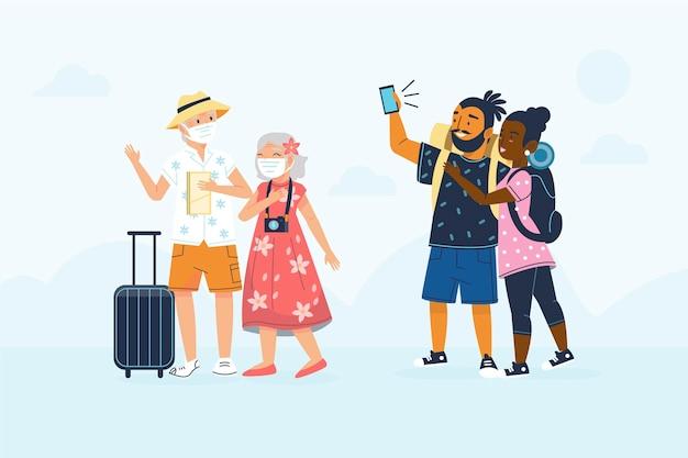 Handgezeichnete flache touristen