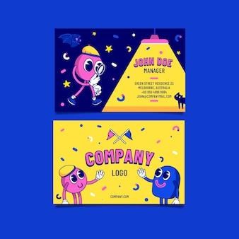 Handgezeichnete, flache, trendige cartoon-visitenkarten
