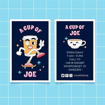 Handgezeichnete flache trendige cartoon-visitenkarten