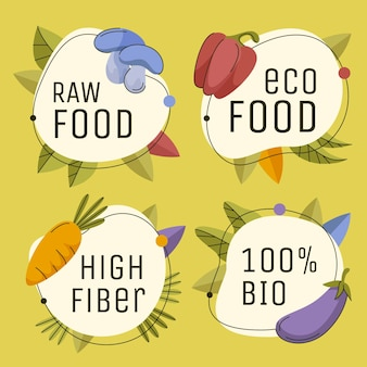 Handgezeichnete flache vegetarische abzeichen und etiketten