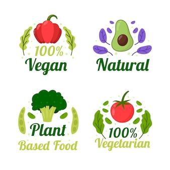 Handgezeichnete flache vegetarische abzeichensammlung