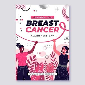 Handgezeichnete flache vertikale flyer-vorlage für brustkrebs-bewusstseinsmonat