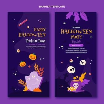Handgezeichnete flache vertikale halloween-banner-set