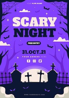 Handgezeichnete flache vertikale halloween-party-flyer-vorlage