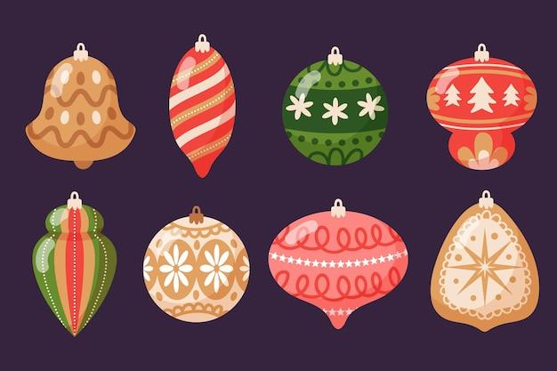 Handgezeichnete flache weihnachtskugel ornamente sammlung