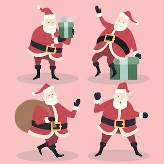 Handgezeichnete flache weihnachtsmann-charaktere-sammlung