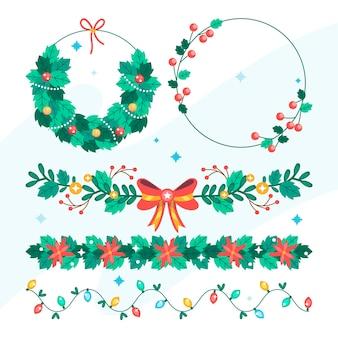 Handgezeichnete flache weihnachtsrahmen und grenzsammlung