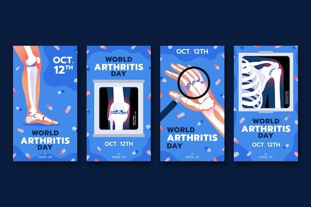 Handgezeichnete flache weltarthritis-tages-instagram-geschichten-sammlung