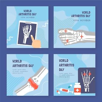 Handgezeichnete flache weltarthritis-tages-instagram-posts-sammlung