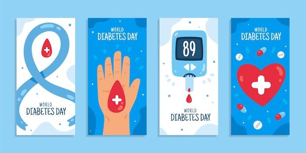 Handgezeichnete flache weltdiabetes-tages-instagram-geschichten-sammlung