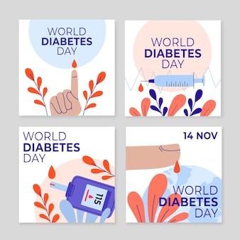 Handgezeichnete flache weltdiabetes-tages-instagram-posts-sammlung