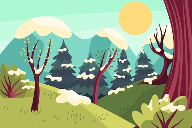 Handgezeichnete flache winterlandschaft