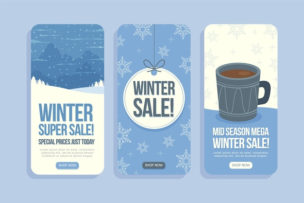 Handgezeichnete flache winterverkauf instagram-geschichten-sammlung