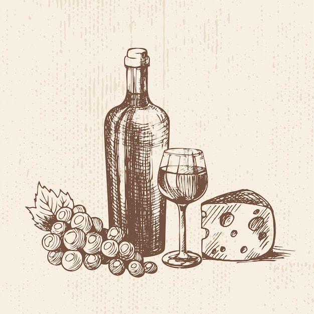 Handgezeichnete flasche wein mit einer glastraube und einem stück käse