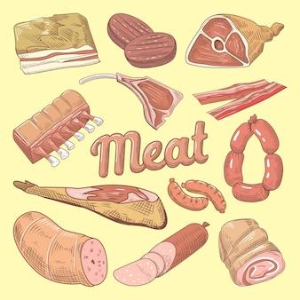 Handgezeichnete fleischkritzeleien mit schweinefleisch, würstchen und schinken
